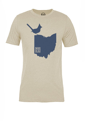 Ohio State Bird Tee/Navy on Antique White - Women's