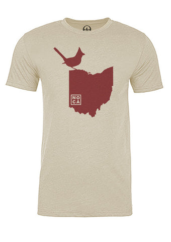 Ohio State Bird Tee/Red on Antique White - Men's