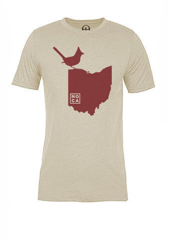 Ohio State Bird Tee/Red on Antique White - Women's