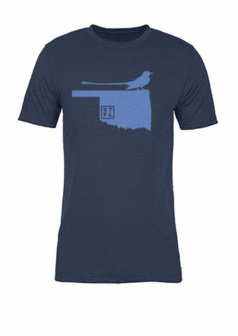 Oklahoma State Bird Tee/Light Blue on Navy - Women's