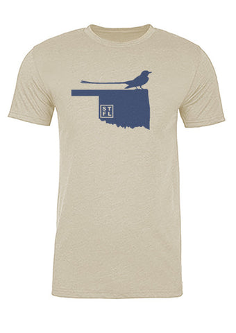Oklahoma State Bird Tee/Navy on Antique White - Men's