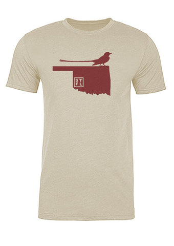 Oklahoma State Bird Tee/Red on Antique White - Men's