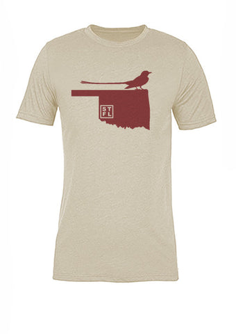 Oklahoma State Bird Tee/Red on Antique White - Women's