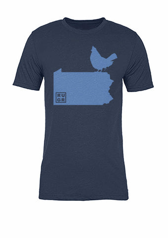 Pennsylvania State Bird Tee/Light Blue on Navy - Women's