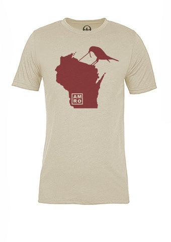 Wisconsin State Bird Tee/Red on Antique White - Women's