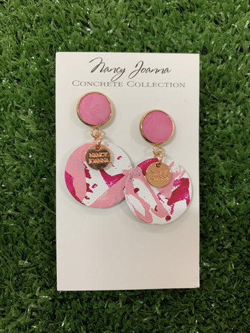 Nancy Joanna Ruby Grace Concrete and Candy Mini Round Leather Drops