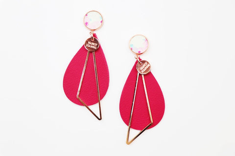 Nancy Joanna Concrete & Beetroot Leather Drops - Rose Gold