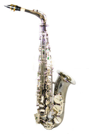Chateau Professional Handmade Alto Saxophone CAS-80BS Black plated body Silver key