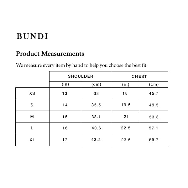 Bundi size guide