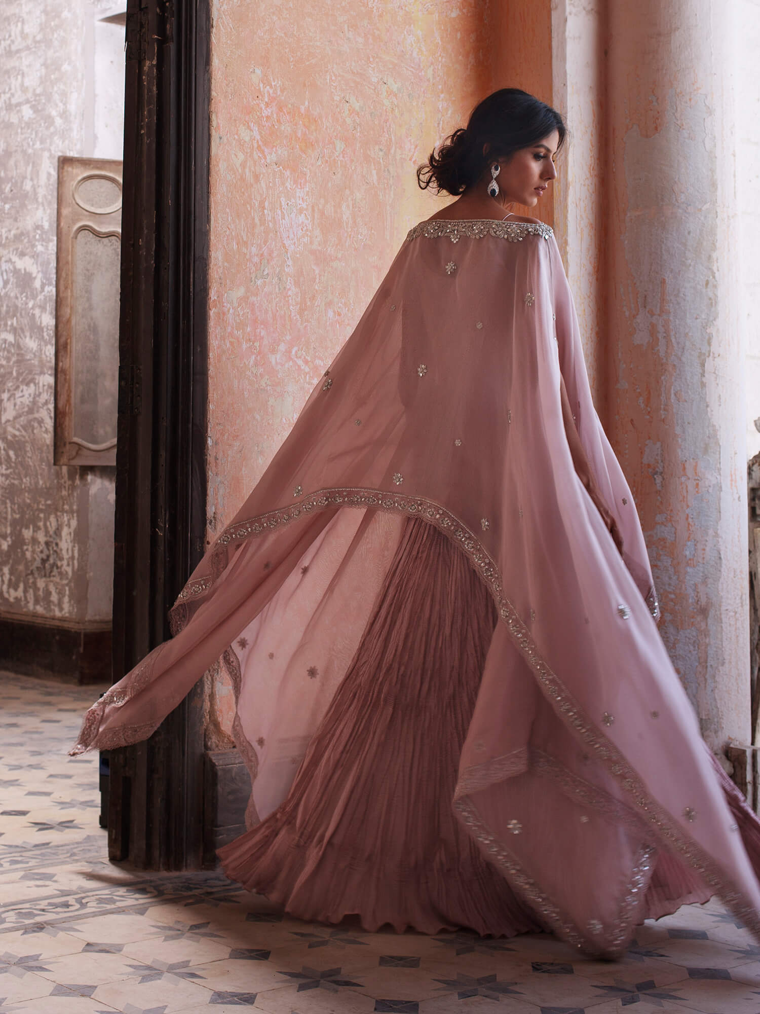 Inca Poncho W/ Crushed Dress - Misha Lakhani