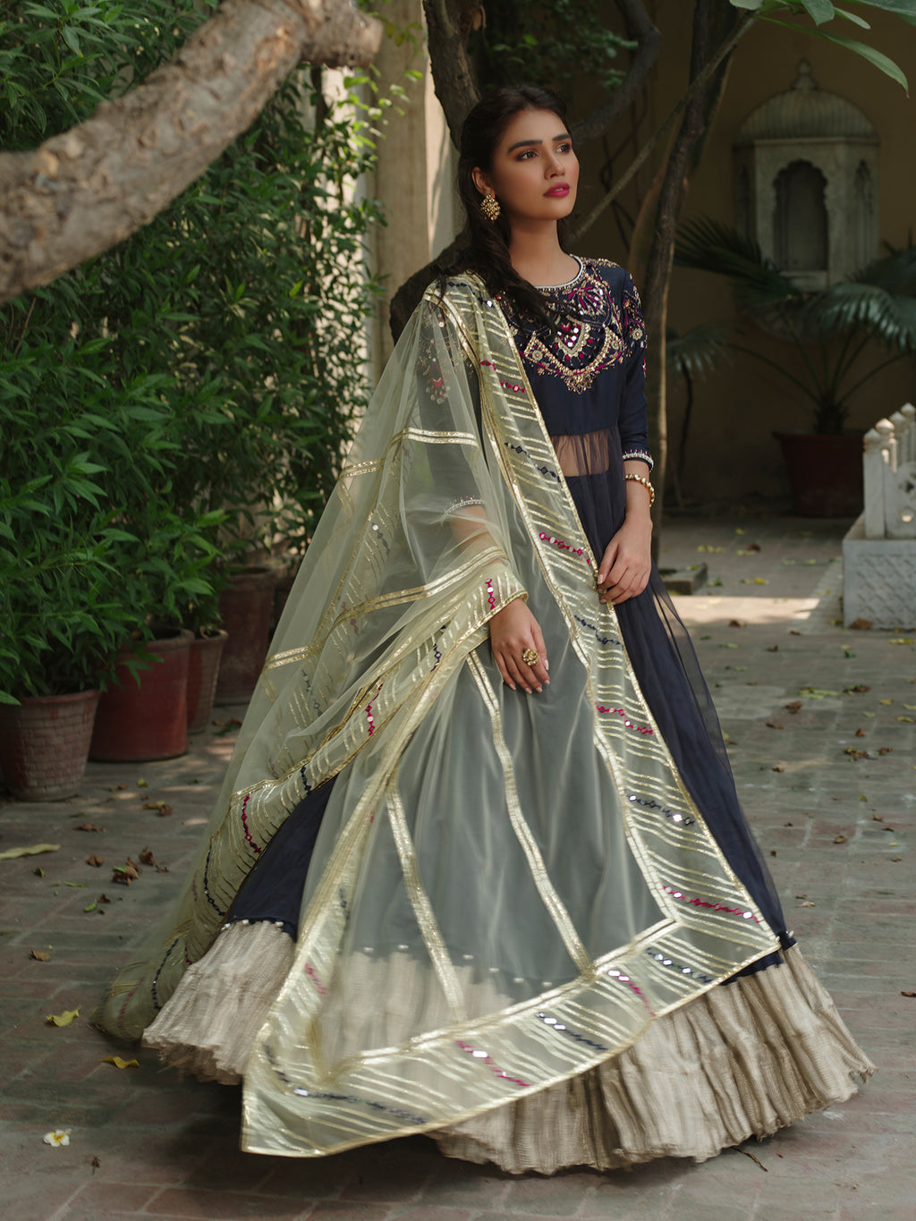 SUFI W/ CRUSHED LEHENGA AND DUPATTA