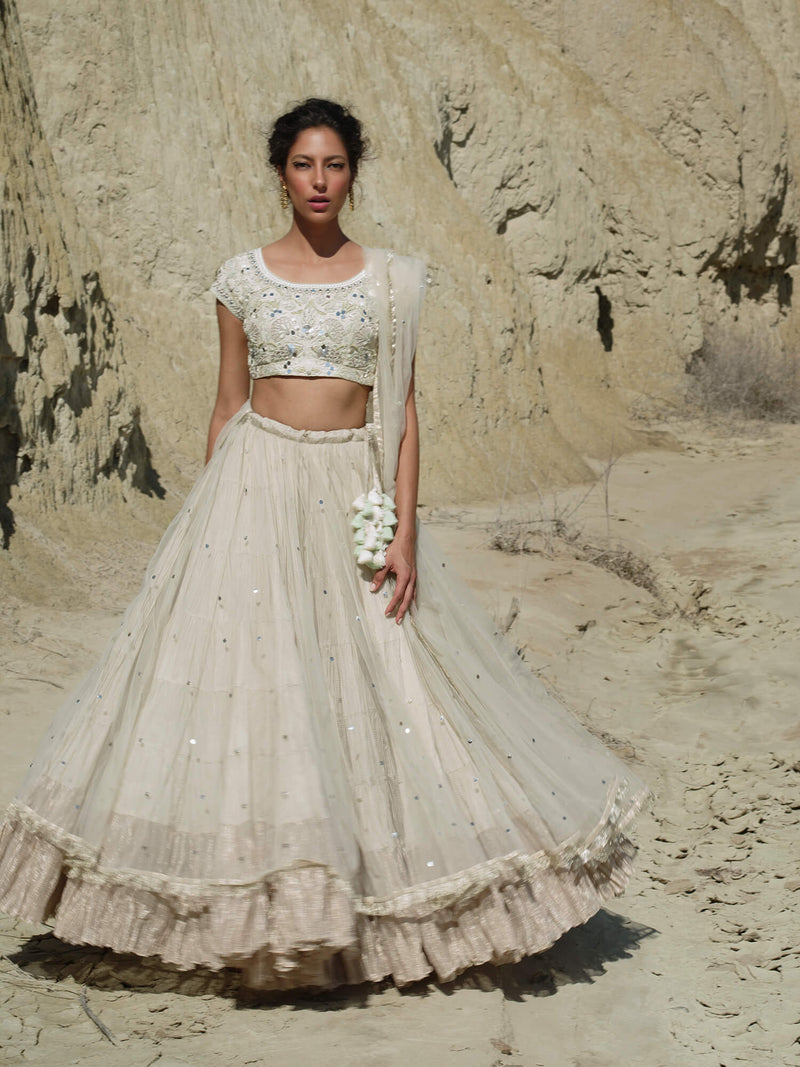 Mint Choli with Ghagra and Dupatta