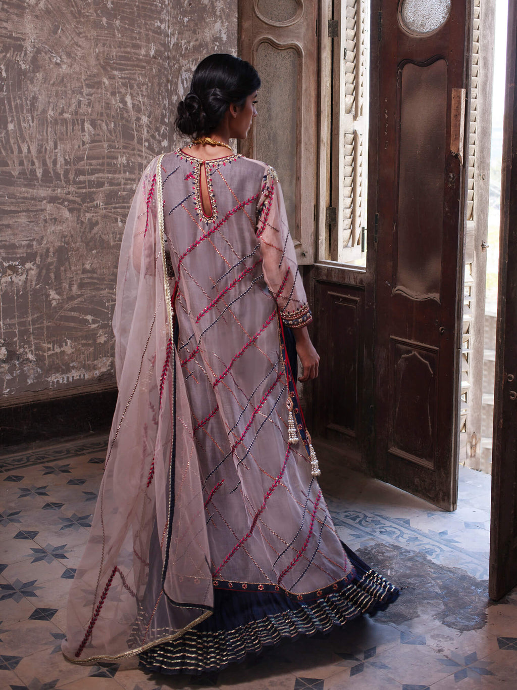 Side Slit Dress W/ Dupatta - Misha Lakhani