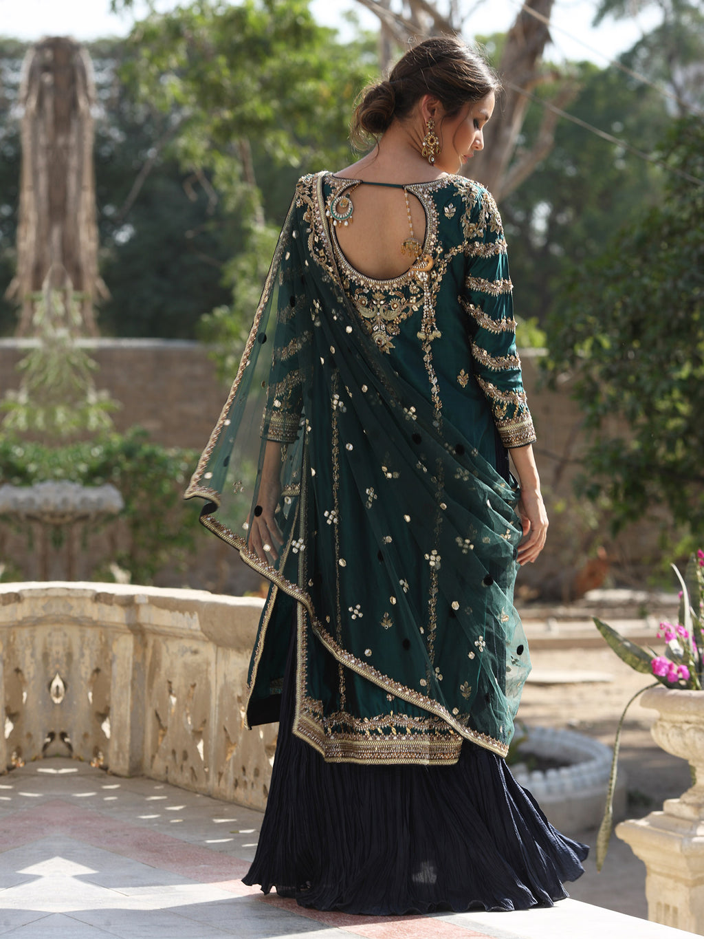 SIDE SLIT DRESS W/ PREDRAPED DUPATTA