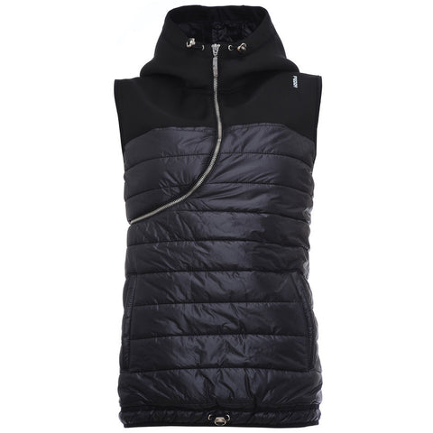Sleeveless Pull Over Puffer Jacket / Black / Curve Zip with Hood and Draw String