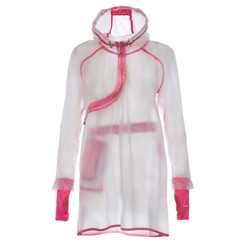 RaincoatCurve / Water Resistant / Curve Zip with Pink Lining.