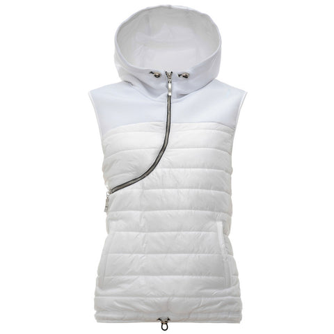 Sleeveless Pull Over Puffer Jacket / White / Curve Zip with Hood and Draw Strings