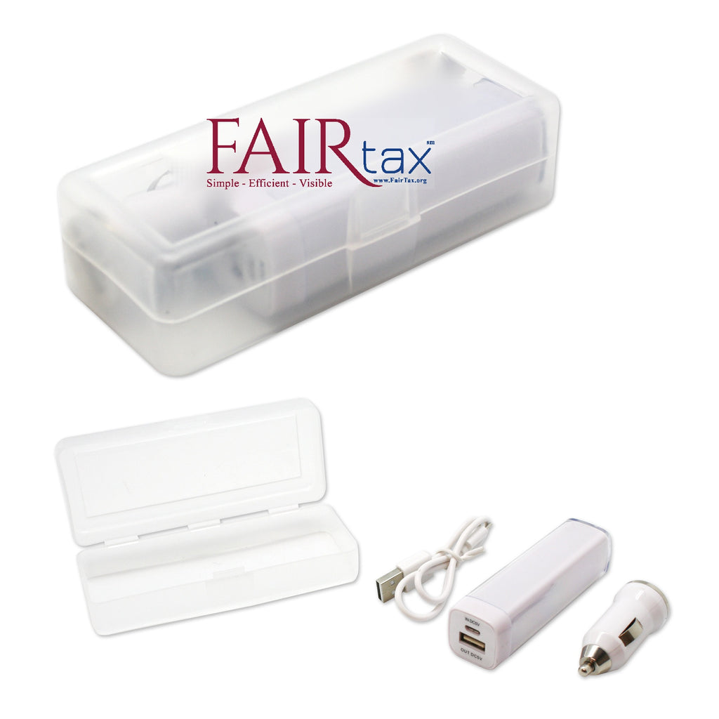 NEW ITEM Travel Kit with 2,200mAh Power Bank & Car Charger - White