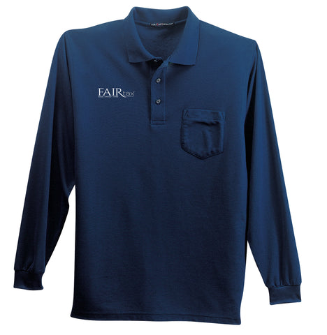 Men's Port Authority Silk Touch Long Sleeve Polo Shirt WITH POCKET