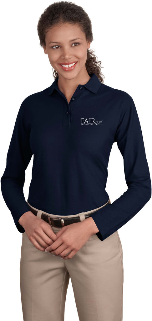 FREE TOTE BAG with purchase of Port Authority Ladies' Silk Touch Long Sleeve Polo Shirt