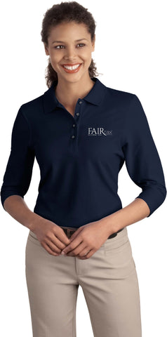 Embroidered Port Authority Ladies Silk Touch 3/4 Sleeve Polo Shirt