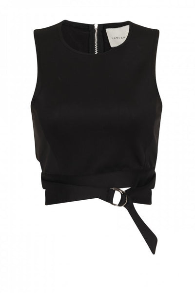 Lavish Alice Black Scuba D-Ring Crop Top