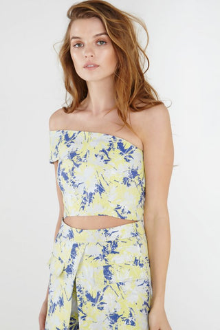 Lavish Alice Lemon Iridescent Print Asymmetric Crop Top