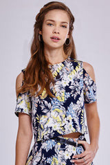 Girls On Film Tropical Print Cold Shoulder Top