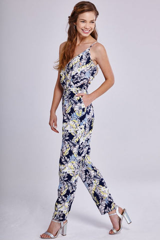 Girls On Film Tropical Print Strap Jumpsuit