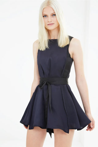 LAVISH ALICE BLACK & NAVY COLOURBLOCK SATIN DRAPE TIE DETAIL PLAYSUIT
