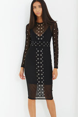 LAVISH ALICE BLACK MESH OVERLAY EYELET DETAIL MIDI DRESS