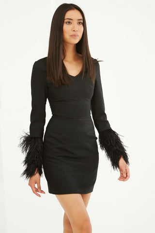 LAVISH ALICE BLACK FEATHER CUFF SHIFT DRESS