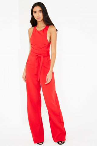 LAVISH ALICE RED CROSS STRAP TIE DETAIL STRAIGHT LEG JUMPSUIT