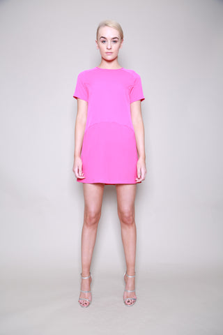 Neon Rose Sheer Yoke Swing Shift Dress