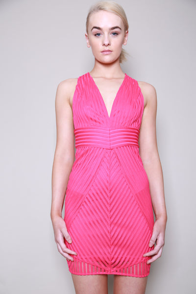 Lumier By Bariano On The Borderline Stripe Deep V Dress
