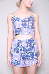Neon Rose Tapestry Tile Crop Top