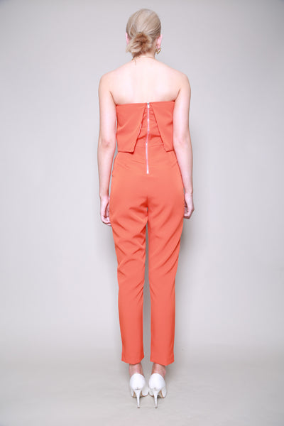 Lavish Alice Orange Bandeau Cropped Jumpsuit