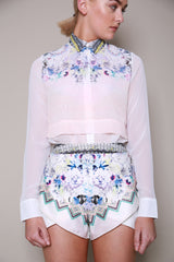 N12H Sheer Layered Oasis Print Shirt/Chiffon