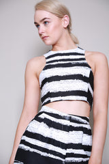 Lavish Alice Black & White Stripe Crop Top