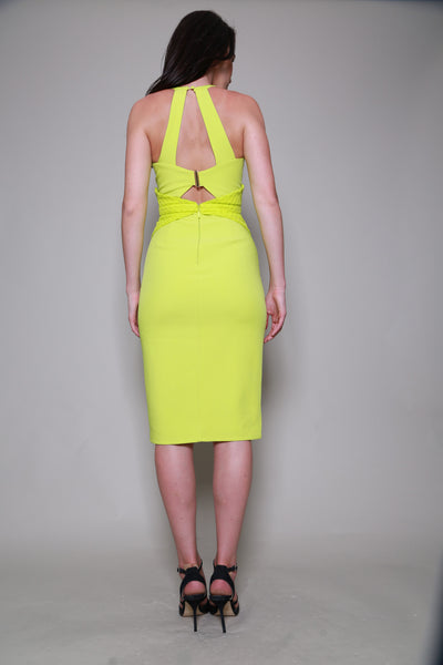 Lumier By Bariano Lime Beehive Halter Dress