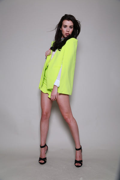 Lavish Alice Lime Green Frill Hem Shorts