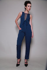 Lavish Alice Navy Lace Up Plunge Tapered Leg Jumpsuit