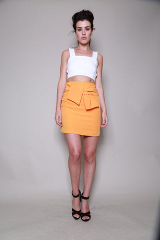 Lavish Alice Tangerine Orange Tie Detail Mini Skirt