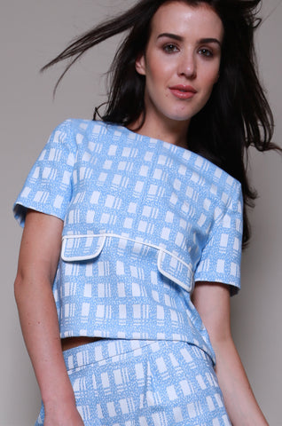 Dahlia Jacquard Check Pleated Swing Back Top with Faux Pockets