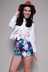 Dahlia Cropped Cutwork Blouse