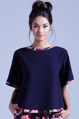 Girls On Film Navy Floral Trim Top