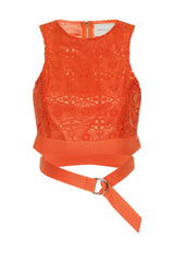 Lavish Alice Orange Lace D-Ring Crop Top