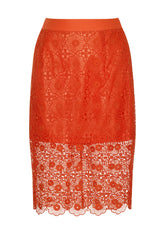 Lavish Alice Orange Lace Pencil Skirt