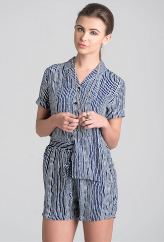 Unique 21 Navy & White Mottle Stripe Short Sleeve Shirt