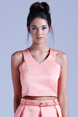 Girls On Film Structured V-Neck Crop Top